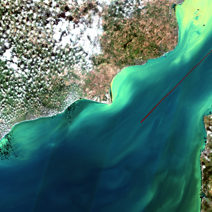 Figure 2. Copernicus Sentinel-2 RGB (red, green, blue radiometer bands) image of the English Channel in September 2016 with the AMT ship track overlaid.
