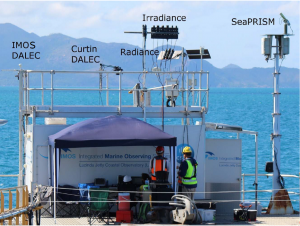 Figure 1: The Lucinda Jetty Coastal Observatory platform equipped with Radiometry Task Team Instrumentation. (Note IMOS DALEC is partially obscured by hand-railing). Photo by D. Boadle.