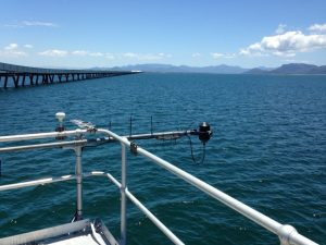 Figure 5: View of Lucinda Jetty towards Hinchinbrook Channel and the mainland. The in Fig.1 obscured IMOS DALEC above water radiometer is seen in the foreground. Photo by D. Antoine.