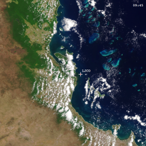 Figure 9: Pseudo true-colour image captured by Sentinel-3A OLCI over Lucinda Jetty during the RTT field inter-comparison on 9 Nov 2016. Credit: ESA, EUMETSAT, NOAA (OCView).