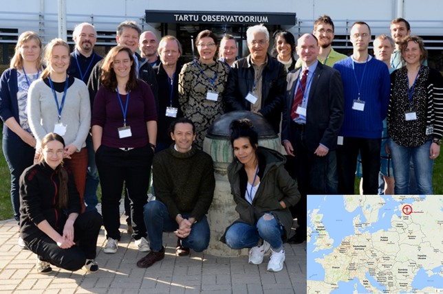 Participants of the LCE-2 in front of the main entrance of Tartu Observatory. May 2017