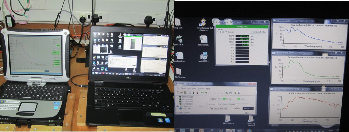 Data from the optical sensors are transferred through a mini deck unit to laptops located in the met laboratory.