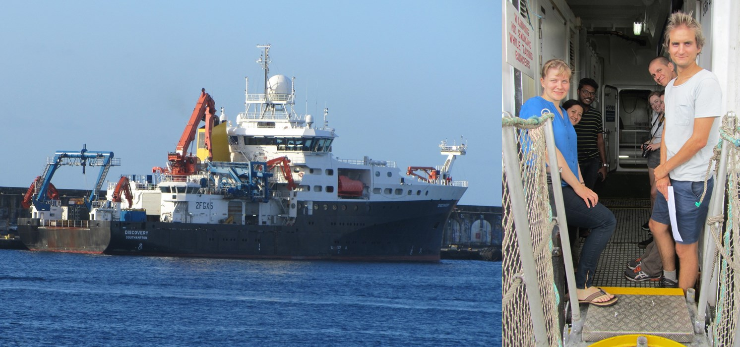 RRS Discovery in Punta Delgada, Azores where Quinten Van Hellemont and Krista Alikas disembarked the ship.